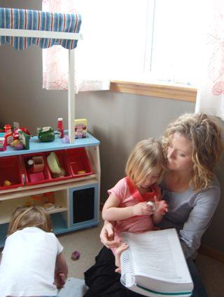 Homeschooling days laurel on lap2009-04-09