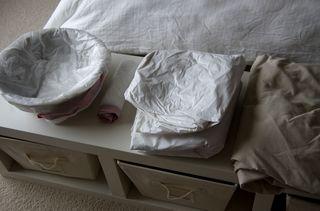 Homebirth set up sheets and bowl