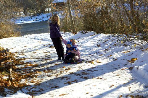 Ian loves to sled