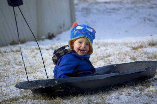 Ian sledding