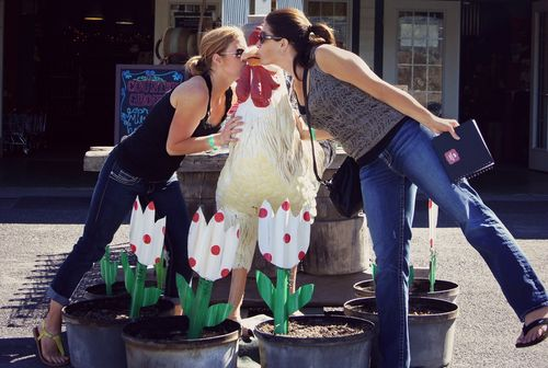 Kissing a chicken