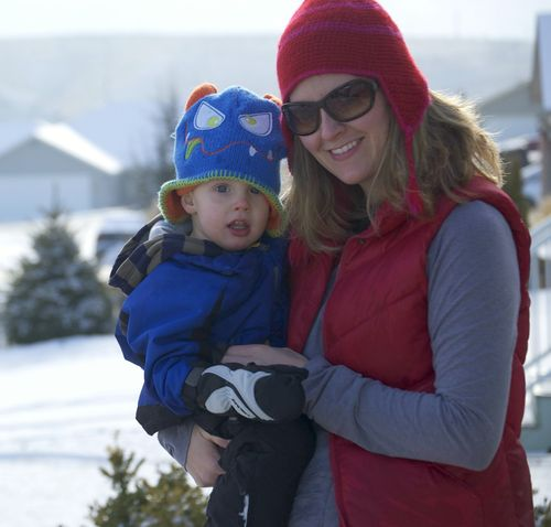 Mom and ian in the snow