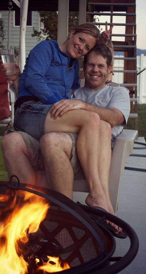 Carl and lib around the fire