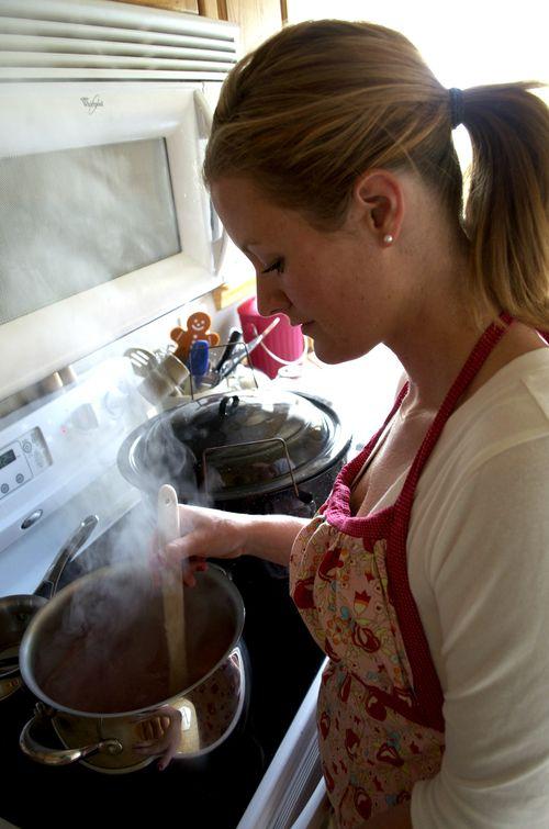 Making jam stirring the pot
