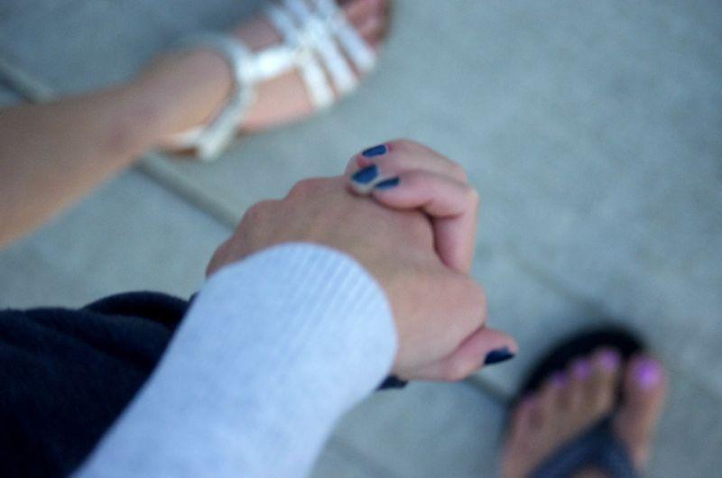 Evening walk- holding hands