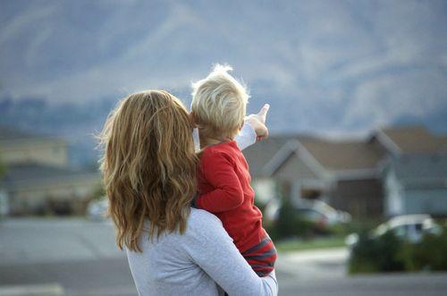Evening walk- ian and mom