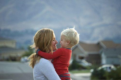 Evening walk- ian hugs mom